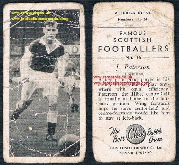 1954 Chix Famous Scottish Footballers Hibs Paterson 16